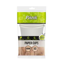 Vienkartinės popierinės stiklinės Piknik ECO 6vnt